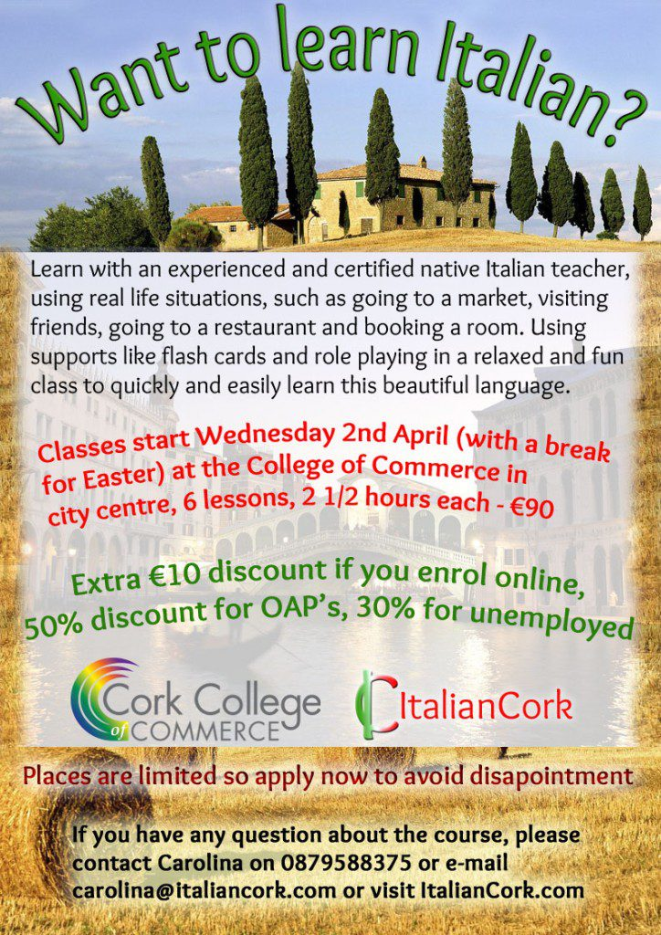 Italian lessons Italian traditions Italian Cork